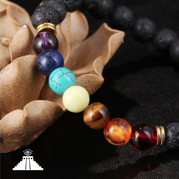 Seven Chakra Lava Stone Bracelet