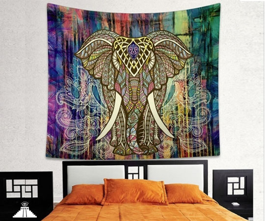 Psychedelic Elephant Tapestry